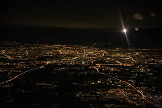 Night Moscow before landing at Domodedovo airport