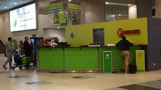 The representative office of S7 Airlines in the airport of Moscow Domodedovo