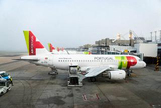 The planes of the airline TAP Portugal near the Terminal 1 of Lisbon airport