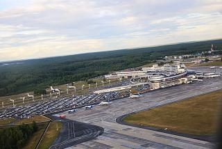 The view of the airport Minsk out of a plane during takeoff
