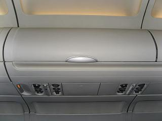 Luggage shelf in the plane, an Airbus A320 Russia