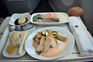 In-flight meals for business class on the flight Frankfurt-Moscow Lufthansa