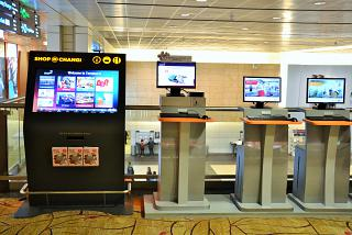 Computers with Internet access in terminal 2 of Changi airport in Singapore