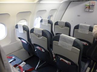 The passenger cabin of the Airbus A320 airline CSA