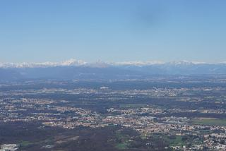 A view of the Alps and Northern Italy after takeoff from the airport of Milan Malpensa