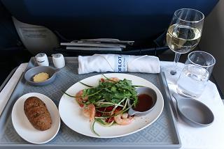 Shrimp salad in Aeroflot business class