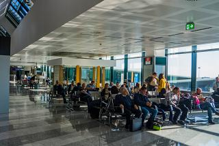 The waiting room in a clean area of the airport Milan Malpensa