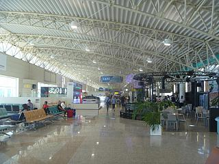 The departure area at the airport Olbia Costa Smeralda