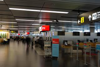 The check-in area for flights at terminal 3 of the airport Vienna Schwechat