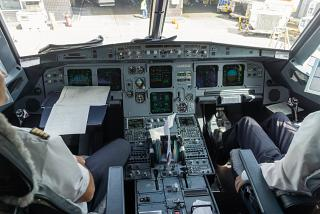 The cockpit in the Airbus A320 of Lufthansa