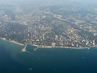 The view from the plane to Sochi city centre