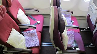 The passenger seats in the economy class in Airbus A330-300 Malaysia Airlines