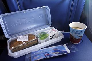 The catering meal on the Aeroflot flight Berlin-Moscow