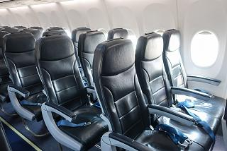 "Passenger seats in a Boeing 737-800 plane of the airline ""Pobeda"""