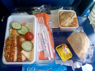 Food on the flight of the airline Aeroflot on the Moscow-Sochi