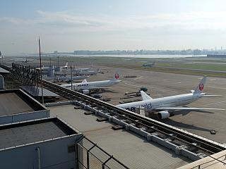 The platform at the domestic terminal 1 of airport Tokyo Haneda