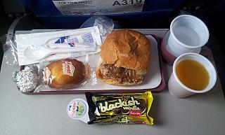 Food on the flight Mexico city-Havana airline Avion Express