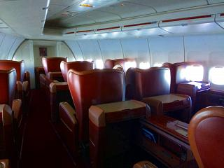 "The interior of the ""Imperial"" class in Boeing-747-400 airline ""Transaero"""
