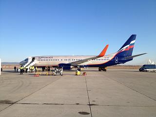 """Boeing-737-800 VP-BRH """"Kustodiev"""" Aeroflot at the airport of Chita"""