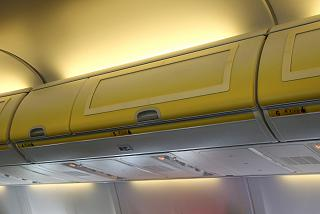 Luggage racks in the plane Boeing-737-800 Ryanair