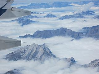 In flight over the Alps in Northern Italy