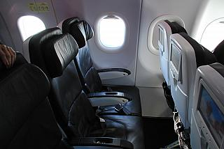 The economy class cabin in the Airbus A320 Virgin America airline
