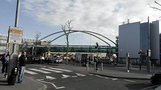 The bridge between the Parking garage and the arrivals hall of terminal 3 of Heathrow airport