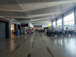In a clean area of domestic departures new terminal of the airport Krasnoyarsk Emelyanovo