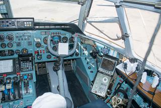 The co-pilot seat in the aircraft An-72 Russian air force