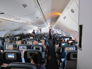 The economy class cabin in Boeing-767-400 Delta airlines
