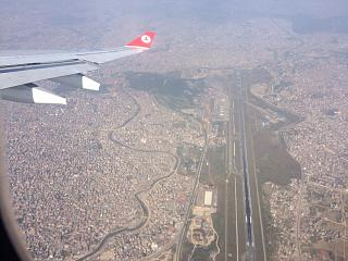 The view of the airport and Kathmandu city
