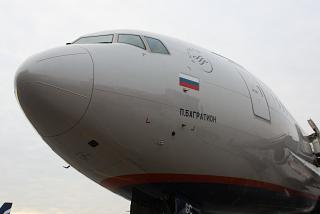 "The nose of the aircraft Boeing-777-300 ""Pyotr Bagration"", the airline ""Aeroflot"""