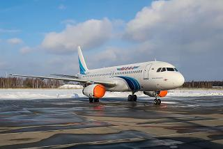 "The Airbus A320 airline ""Yamal"" at Domodedovo airport"