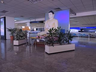 The Buddha in the arrival hall of the Colombo airport Bandaranaike international