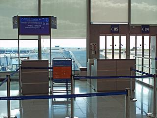The gate in terminal 2C of Paris airport Charles de Gaulle