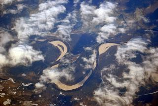 In flight over Western Siberia