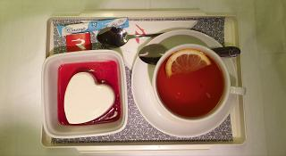 Dessert in the business class of Rossiya Airlines on a flight Moscow - Yuzhno-Sakhalinsk