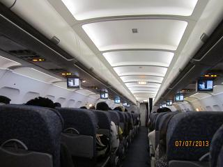 The interior of the plane Airbus A-320 Philippine airlines
