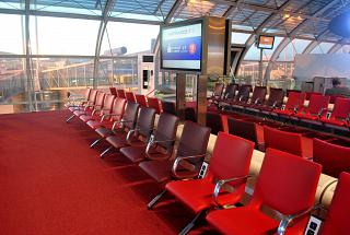 Place to wait for flights in the F concourse of terminal 2 of Paris airport Charles de Gaulle
