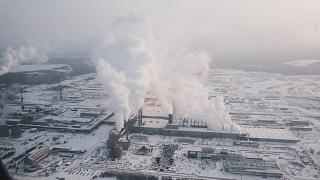 In flight over Ust-Ilimsk Pulp Mill