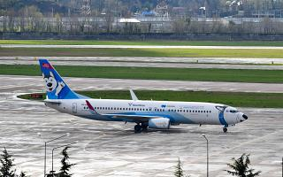 "Boeing-737-800 ""Husky"" Nordstar airlines at the airport of Sochi"
