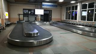 Baggage claim area in the international terminal of the airport of Irkutsk
