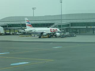 Airbus A319 Czech airlines at Terminal 1 of Prague airport