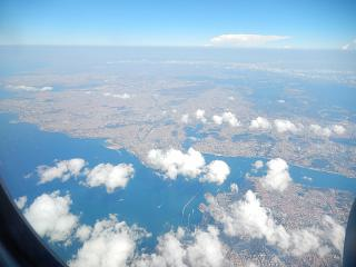 The view of Istanbul from the plane