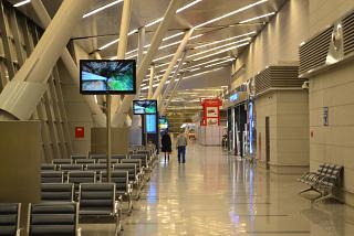 Waiting rooms in a clean area of the international flights Terminal A of Vnukovo airport