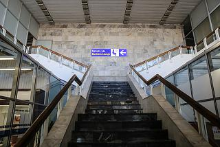 Stairs to the business lounge at the airport Minsk national