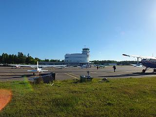 The platform of the airport Malmi in Helsinki