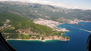 The sea of the Montenegrin coast before landing in Tivat airport