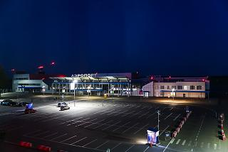 Main square of Tomsk airport at night