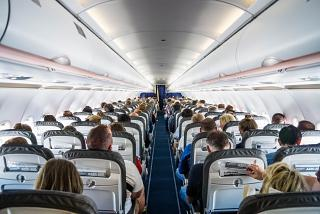 The passenger cabin of the Airbus A320 of Lufthansa